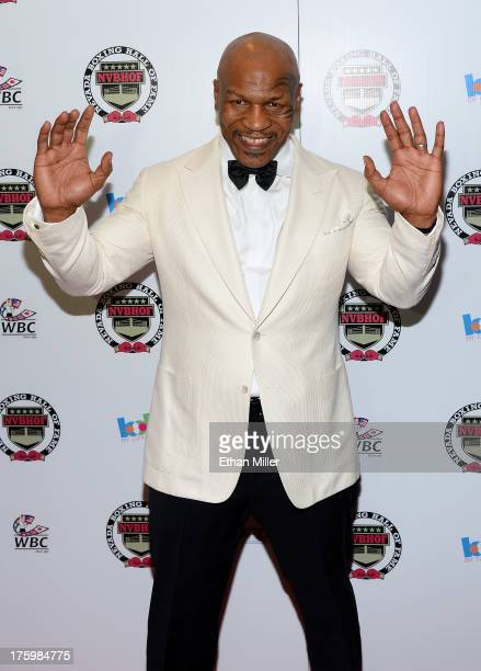 Former boxer and inductee Mike Tyson arrives at the Nevada Boxing Hall of Fame inaugural induction gala at the Monte Carlo Resort and Casino on...