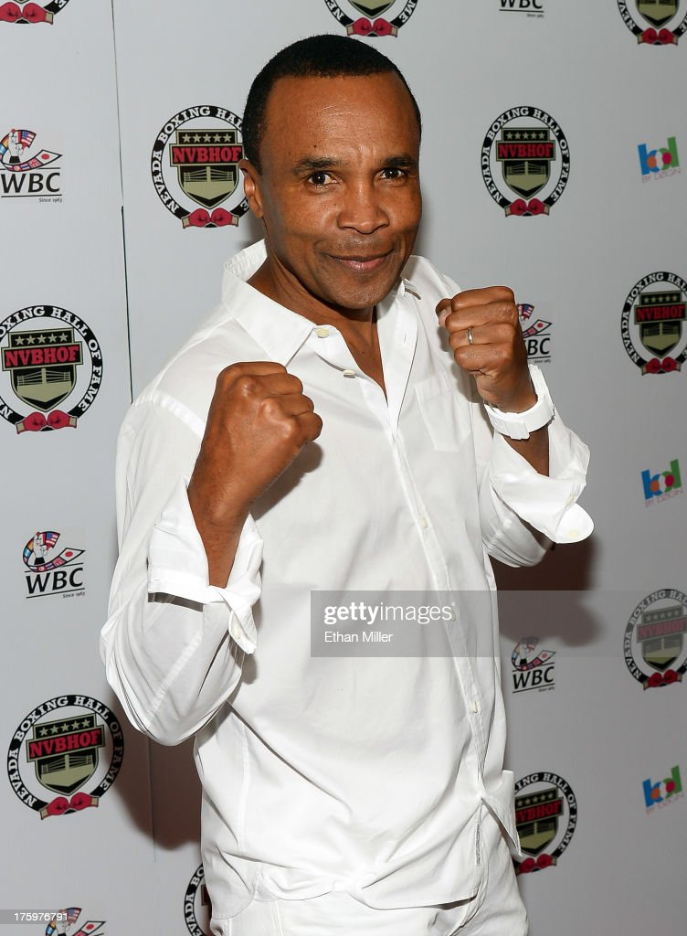 Former boxer and inductee <a gi-track='captionPersonalityLinkClicked' href=/galleries/search?phrase=Sugar+Ray+Leonard&family=editorial&specificpeople=206479 ng-click='$event.stopPropagation()'>Sugar Ray Leonard</a> arrives at the Nevada Boxing Hall of Fame inaugural induction gala at the Monte Carlo Resort and Casino on August 10, 2013 in Las Vegas, Nevada.