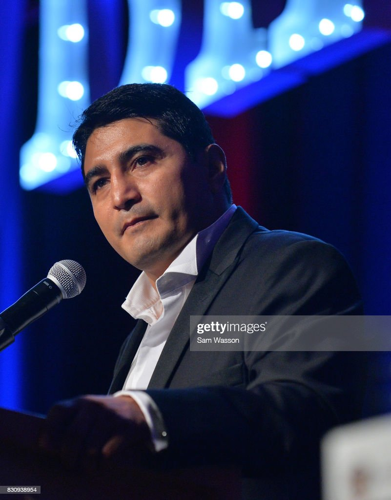 Former boxer Erik Morales speaks as he is inducted into the Nevada Boxing Hall of Fame at the fifth annual induction gala at Caesars Palace on August 12, 2017 in Las Vegas, Nevada.