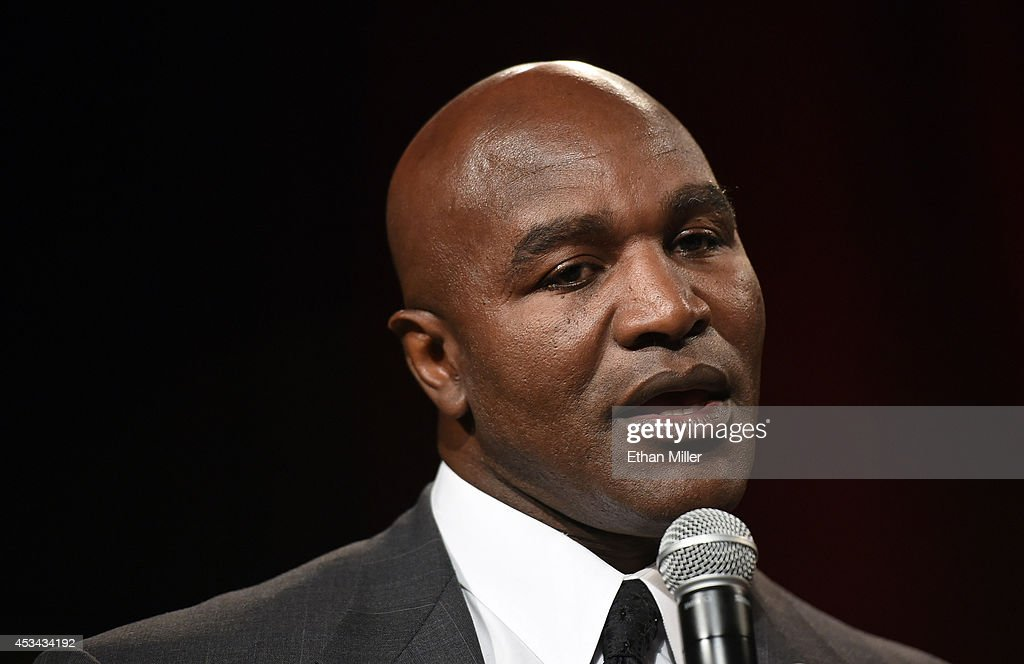 Former boxer Evander Holyfield speaks as he is inducted into the Nevada Boxing Hall of Fame at the second annual induction gala at the New Tropicana Las Vegas on August 9, 2014 in Las Vegas, Nevada.