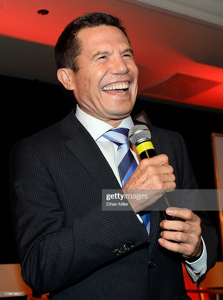 Former boxer Julio Cesar Chavez laughs as he is inducted into the Nevada Boxing Hall of Fame during the inaugural induction gala at the Monte Carlo Resort and Casino on August 10, 2013 in Las Vegas, Nevada.