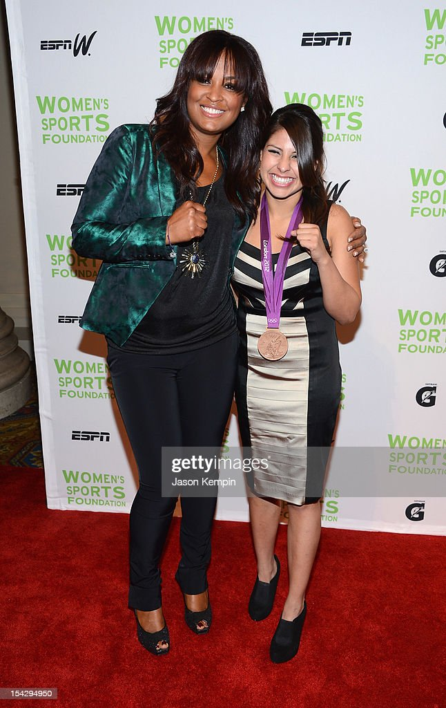 Former boxer Laila Ali (L) and Olympic boxer <a gi-track='captionPersonalityLinkClicked' href=/galleries/search?phrase=Marlen+Esparza&family=editorial&specificpeople=8936940 ng-click='$event.stopPropagation()'>Marlen Esparza</a> attend the 33rd Annual Salute To Women In Sports Gala at Cipriani Wall Street on October 17, 2012 in New York City.