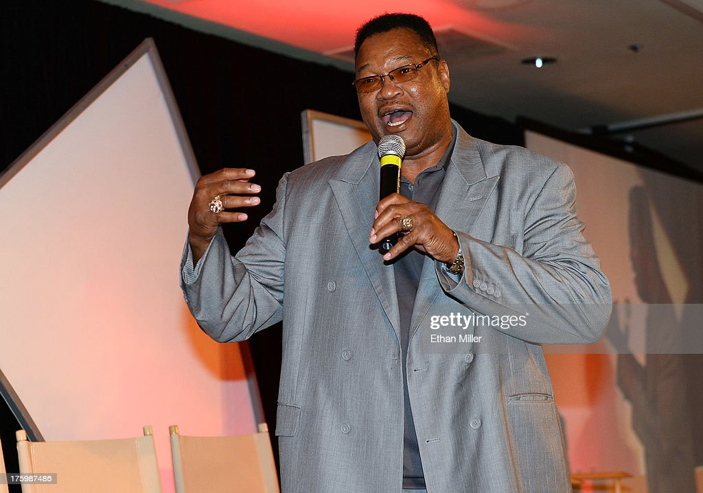 Former boxer <a gi-track='captionPersonalityLinkClicked' href=/galleries/search?phrase=Larry+Holmes&family=editorial&specificpeople=730775 ng-click='$event.stopPropagation()'>Larry Holmes</a> speaks as he is inducted into the Nevada Boxing Hall of Fame during the inaugural induction gala at the Monte Carlo Resort and Casino on August 10, 2013 in Las Vegas, Nevada.