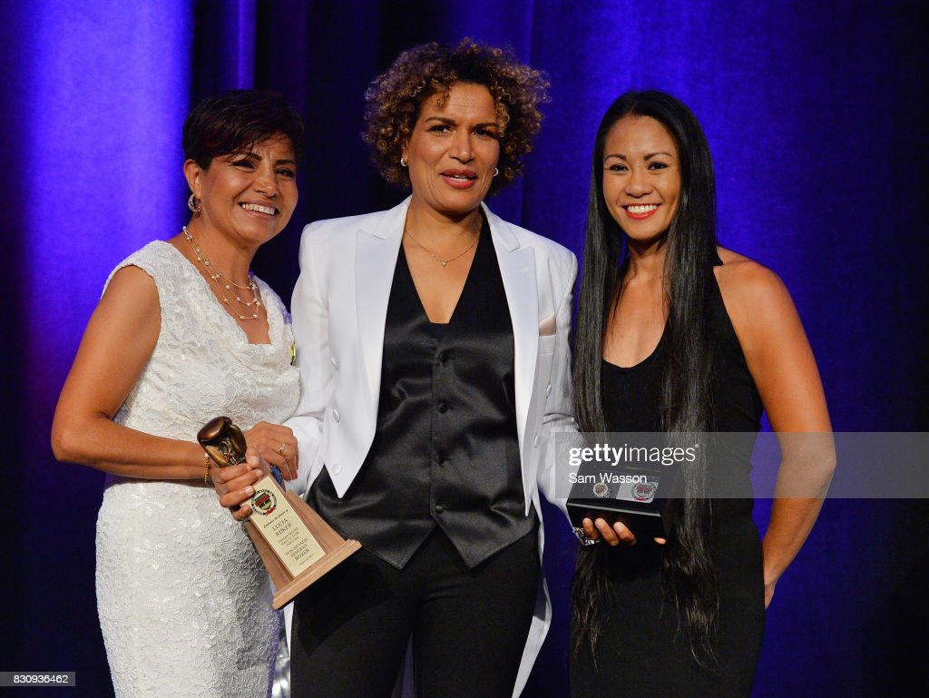 Former boxer Laura Serrano, inductee Lucia Rijker and boxer Ana Julaton pose for a photo at the fifth annual Nevada Boxing Hall of Fame induction gala at Caesars Palace on August 12, 2017 in Las Vegas, Nevada.