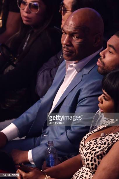 Former boxer Mike Tyson attends the super welterweight boxing match between Floyd Mayweather Jr and Conor McGregor on August 26 2017 at TMobile Arena...