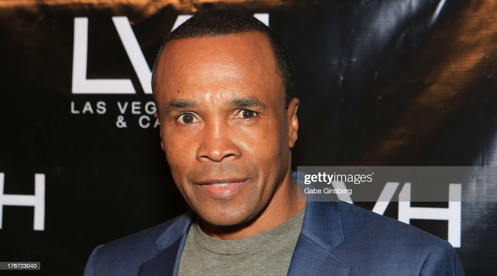 Former boxer Sugar Ray Leonard arrives at the 'Night of the Champion' event to honor former boxer Leon Spinks hosted by the cast members of 'Raiding the Rock Vault' at The Las Vegas Hotel & Casino on August 17, 2013 in Las Vegas, Nevada.