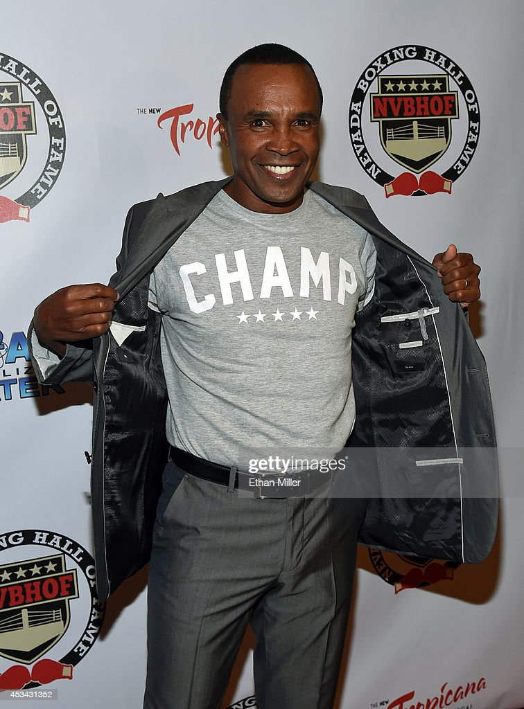 Former boxer Sugar Ray Leonard arrives at the second annual Nevada Boxing Hall of Fame induction gala at the New Tropicana Las Vegas on August 9, 2014 in Las Vegas, Nevada.