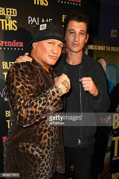 Former boxer Vinny Paz and actor Miles Teller attend the Las Vegas screening of the film 'Bleed for This' at the Brenden Theatres inside Palms Casino...