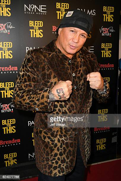 Former boxer Vinny Paz attends the Las Vegas screening of the film 'Bleed for This' at the Brenden Theatres inside Palms Casino Resort on November 17...