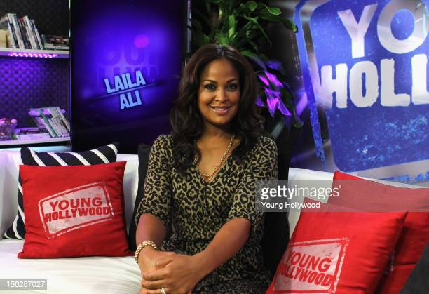Former boxer/TV personality Laila Ali visits the Young Hollywood Studio on August 13 2012 in Los Angeles California