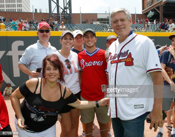 Former Braves player Dale Murphy takes a photo with the fans prior to the MLB game between the Atlanta Braves and the Miami Marlins on August 6 2017...