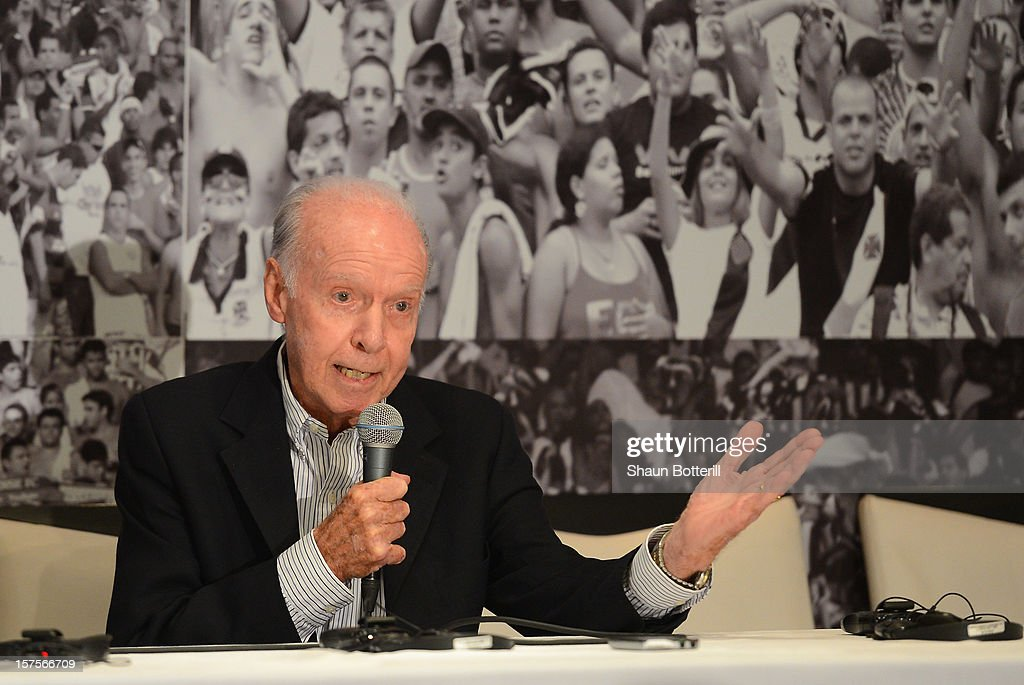 Former Brazil player and coach Mario Zagallo talks to the media before a viewing of the Maracana Stadium, venue for the FIFA 2014 World Cup Final on December 4, 2012 in Rio de Janeiro, Brazil.