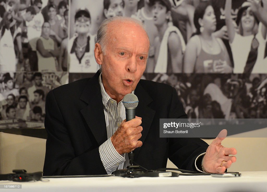 Former Brazil player and coach Mario <a gi-track='captionPersonalityLinkClicked' href=/galleries/search?phrase=Zagallo&family=editorial&specificpeople=1567489 ng-click='$event.stopPropagation()'>Zagallo</a> talks to the media before a viewing of the Maracana Stadium, venue for the FIFA 2014 World Cup Final on December 4, 2012 in Rio de Janeiro, Brazil.