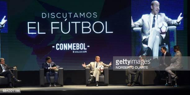 Former Brazilian coach Carlos Alberto Parreira and Argentine footballers Javier Zanetti David Trezeguet Oscar Ruggeri and Diego La Torre participate...