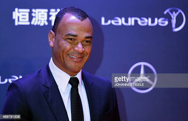 Former Brazilian football player Cafu poses on the red carpet ahead of the Laureus World Sports Award ceremony at the Grand Theater in Shanghai on...