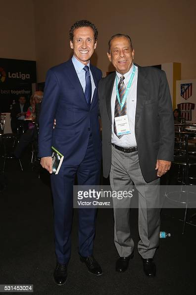 Former brazilian football player Carlos Alberto Torres and Jorge Valdano attend the Soccerex Americas Forum Mexico City Day 2 at Camino Real Polanco...