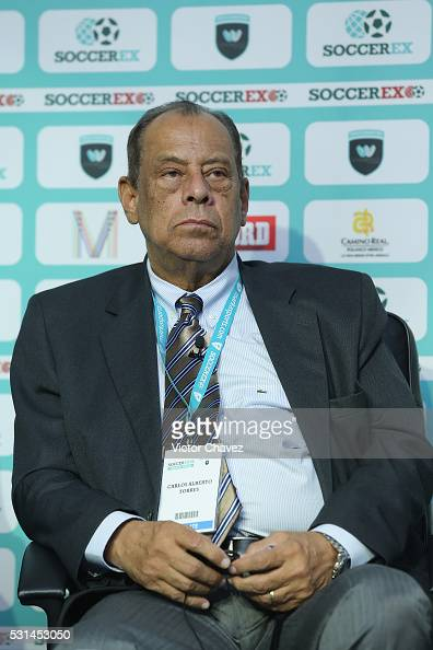 Former brazilian football player Carlos Alberto Torres attends a press conference during the Soccerex Americas Forum Mexico City Day 2 at Camino Real...