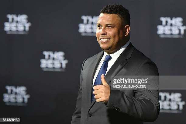 Former Brazilian football player Ronaldo poses as he arrives for The Best FIFA Football Awards ceremony on January 9 2017 in Zurich / AFP / MICHAEL...