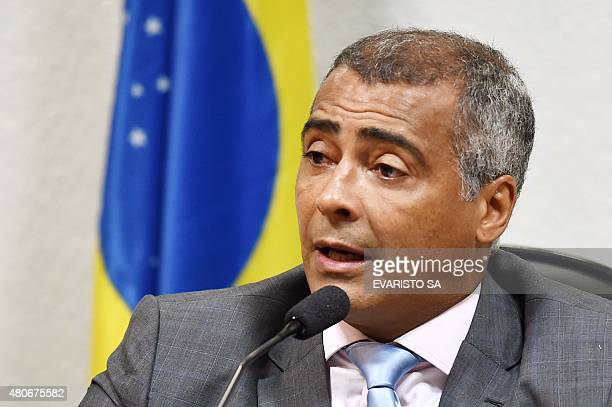 Former Brazilian football star and current senator Romario attends the opening session of the parliamentary committee of inquiry into corruption in...