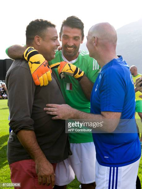 Former Brazilian football star Ronaldo Italian goalkeeper Gianluigi Buffon and FIFA President Gianni Infantino during 'The Gianni's game the match of...