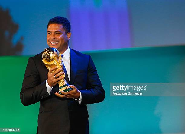 Former Brazilian football star Ronaldo Nazario speaks during the opening ceremony of the 64th FIFA Congress at the Expocenter Transamerica on June 10...