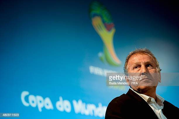 Former Brazilian football star Zico attends a press conference during the 2014 FIFA World Cup Brazil Local Organizing Committee Board Meeting at...