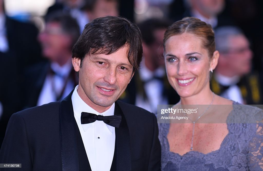 Former Brazilian footballer Leonardo (L) and his wife Anna Billo (R) arrive for the screening of the film 'Youth' at the 68th Cannes Film Festival in Cannes, France on May 20, 2015.