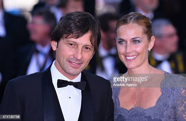 Former Brazilian footballer Leonardo and his wife Anna Billo arrive for the screening of the film 'Youth' at the 68th Cannes Film Festival in Cannes...
