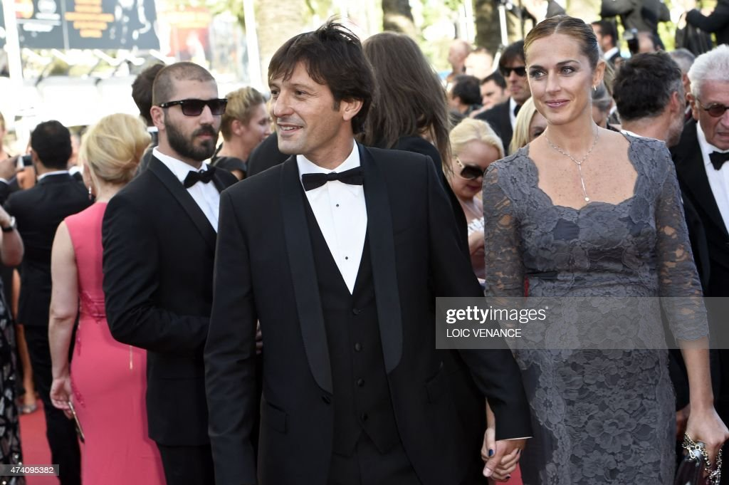 Former Brazilian footballer Leonardo and his wife Anna Billo pose as they arrive for the screening of the film 'Youth' at the 68th Cannes Film Festival in Cannes, southeastern France, on May 20, 2015.
