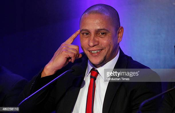 Former Brazilian great and Manager of Delhi Dynamos Roberto Carlos during a press conference after the auction and draft of Indian Super League on...