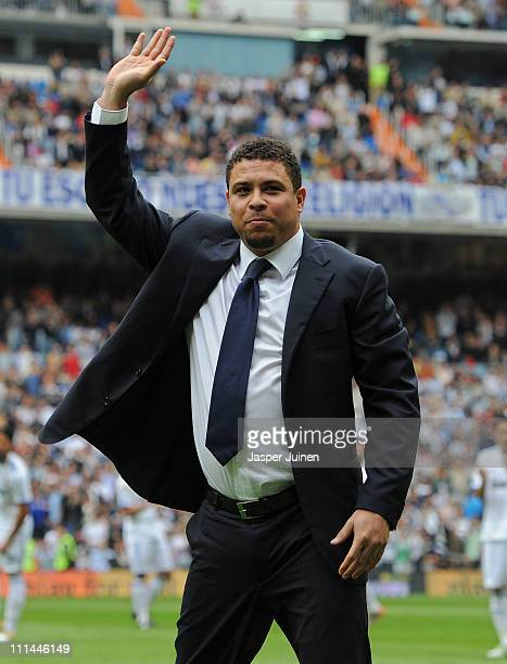 Former Brazilian international Ronaldo acknowledges the crowd prior to the start of the la Liga match between Real Madrid and Sporting Gijon at...