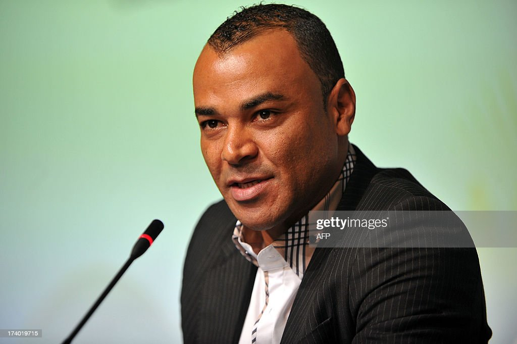 Former Brazilian national team player Cafu speaks during a press conference to announce the ticketing strategy for the 2014 FIFA World Cup on July 19, 2013, in Sao Paulo, Brazil.