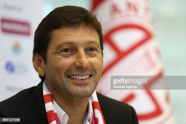 Former Brazilian player and head coach Leonardo Nascimento de Araujo signs for Antalyaspor at the Atilla Vehbi Konuk Sport Complex in Antalya Turkey...