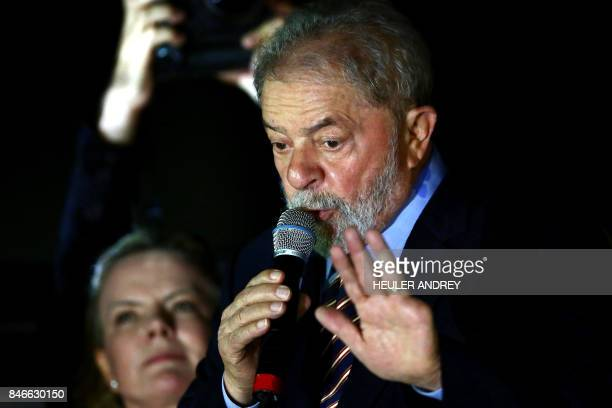 Former Brazilian president Luis Inacio Lula da Silva addresses supporters during a demonstration at Generoso Marques Square in Curitiba Brazil on...