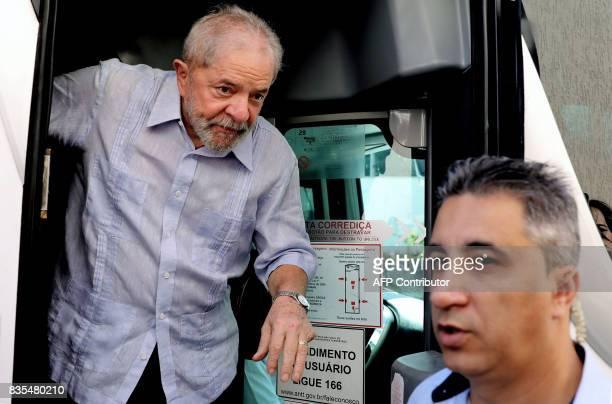 Former Brazilian President Luiz Inacio Lula da Silva arrives to meet farmers during his 'Lula for Brazil' bus tour of 20 cities in northeastern...