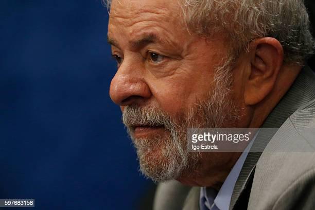 Former Brazilian President Luiz Inacio Lula da Silva attends the impeachment trial for suspended Brazilian President Dilma Rousseff on the Senate...