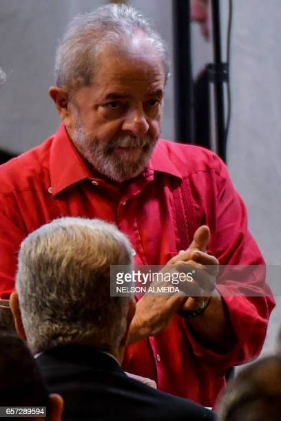 Former Brazilian president Luiz Inacio Lula da Silva attends the debate 'What Lava Jato has done to Brazil' organized by the Workers Party in Sao...