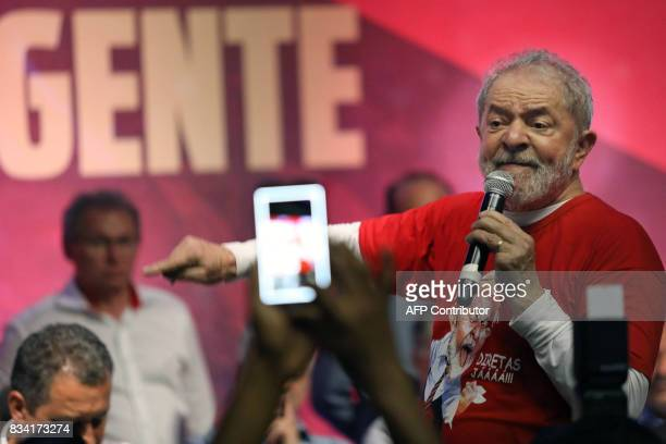 Former Brazilian President Luiz Inacio Lula da Silva delivers a speech during the opening rally of his bus tour through the northeast of the country...