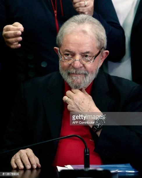 Former Brazilian president Luiz Inacio Lula Da Silva gestures during a press conference in Sao Paulo Brazil July 13 2017 Brazil's former president...