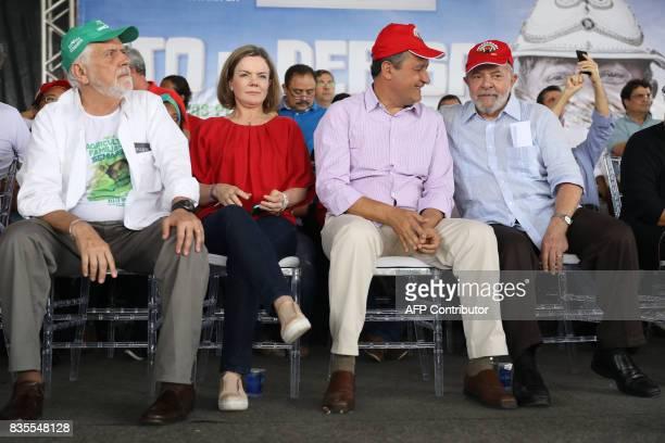 Former Brazilian President Luiz Inacio Lula da Silva sits with the former governor of Bahia State Jaques Wagner senator Gleisi Hoffmann and the...