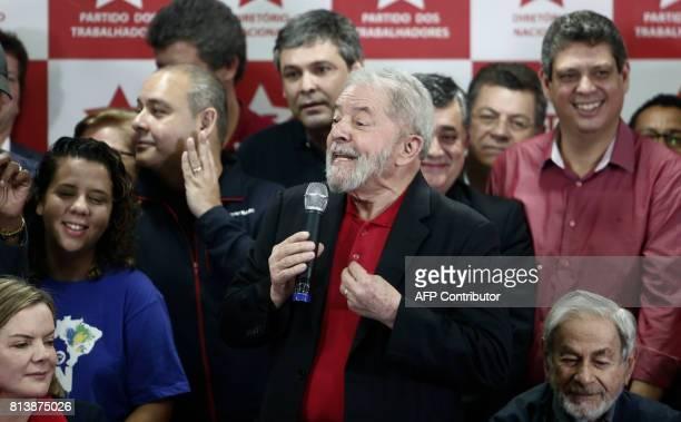 Former Brazilian president Luiz Inacio Lula Da Silva speaks during a press conference in Sao Paulo Brazil July 13 2017 Brazil's former president Luiz...