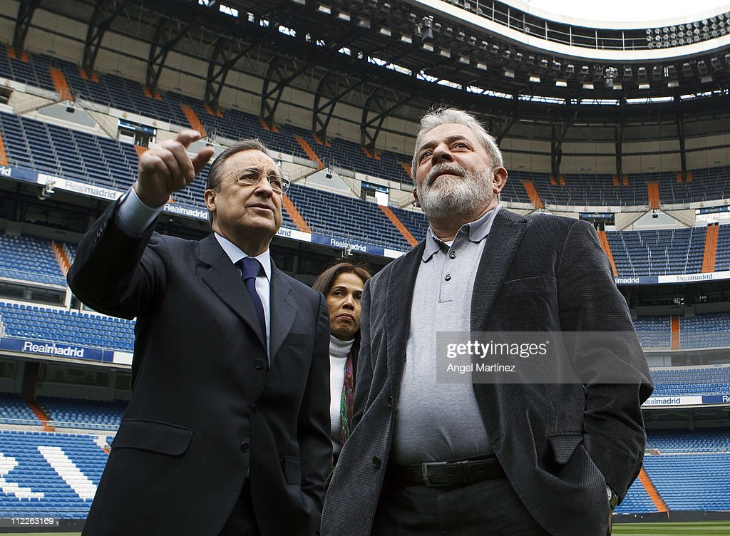 Former Brazilian President Lula da Silva (R) chats with President Florentino Perez of Real Madrid during a visit to the Estadio Santiago Bernabeu on April 16, 2011 in Madrid, Spain.
