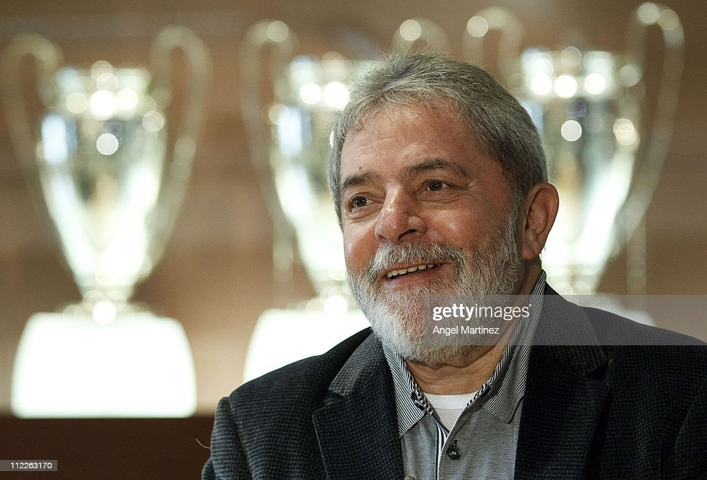 Former Brazilian President Lula da Silva smiles during a visit to the Estadio Santiago Bernabeu on April 16, 2011 in Madrid, Spain.