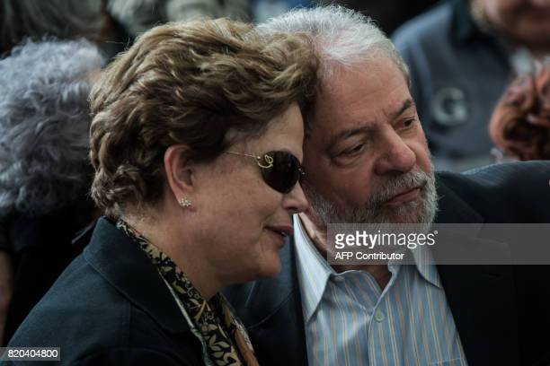 Former Brazilian presidents Luiz Inacio Lula da Silva and Dilma Rousseff attend the funeral of former foreign policy advisor Marco Aurelio Garcia in...