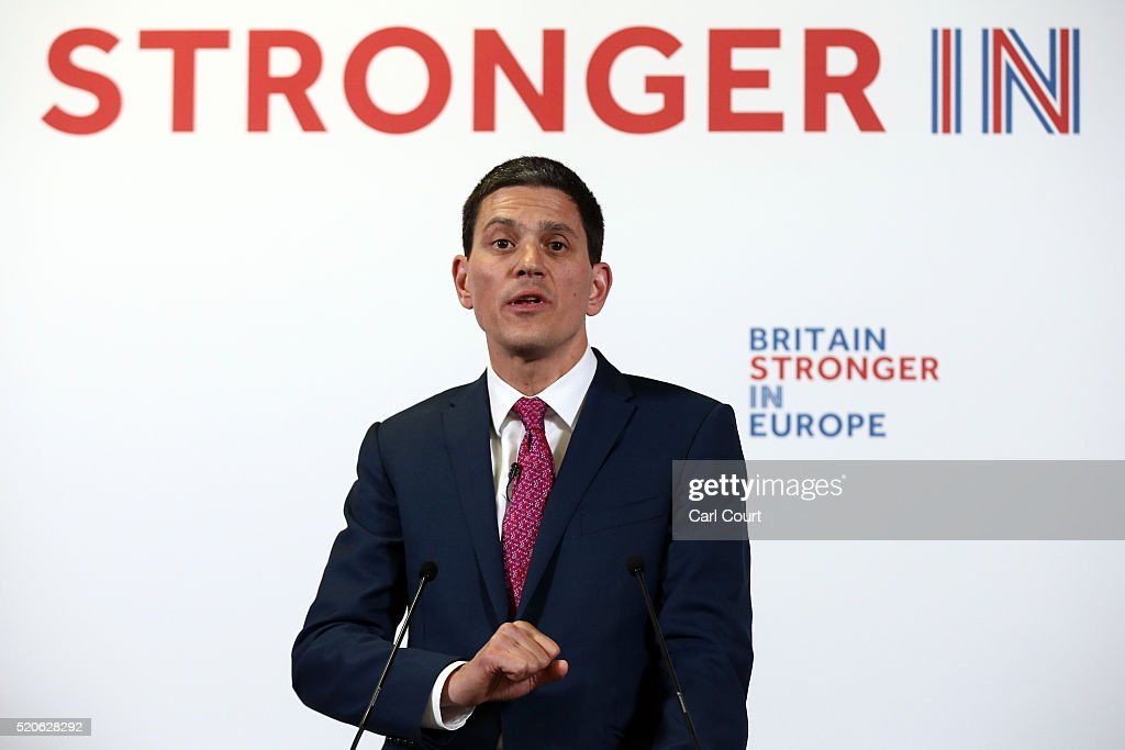 Former British Foreign Secretary <a gi-track='captionPersonalityLinkClicked' href=/galleries/search?phrase=David+Miliband&family=editorial&specificpeople=206702 ng-click='$event.stopPropagation()'>David Miliband</a> speaks during a press conference to add his support to Britain staying in the European Union on April 12, 2016 in London, England. Mr Miliband outlined the perceived foreign policy implications of Britain leaving the EU.