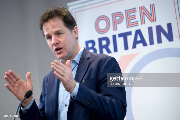 Former British Liberal Democrat deputy Prime Minister Nick Clegg MP speaks at an Open Britain campaign organised press event in London on March 28 on...