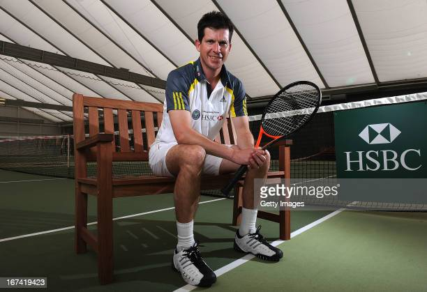 Former British No1 and HSBC Ambassador Tim Henman poses for photographs during the HSBC Community Tennis Clinic at Hampshire Health Racquets Club on...