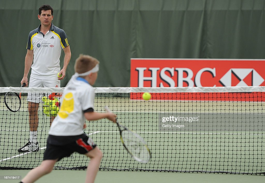 Former British No1 and HSBC Ambassador Tim Henman takes part in HSBC Community Tennis Clinic at Hampshire Health & Racquets Club on April 25, 2013 in Southampton, England.