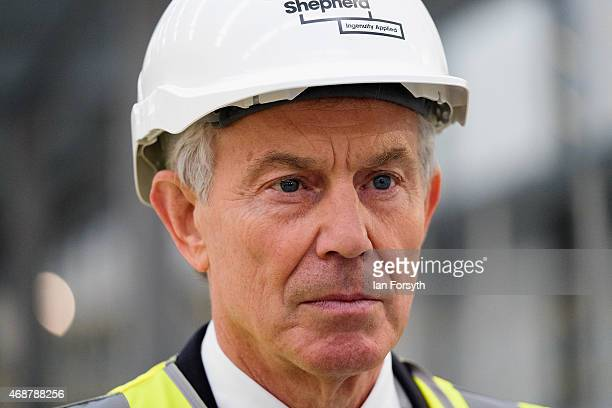 Former British Prime Minister and former Labour MP for Sedgefield Tony Blair visits the construction site for the new Hitachi Trains Europe factory...