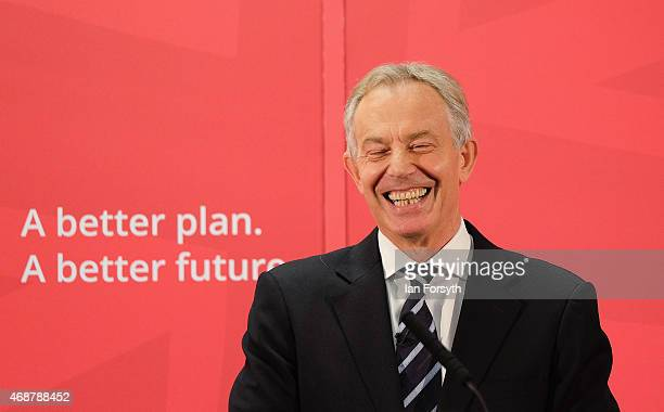 Former British Prime Minister and former Labour MP for Sedgefield Tony Blair gives a speech to waiting party members ahead of a visit to the...